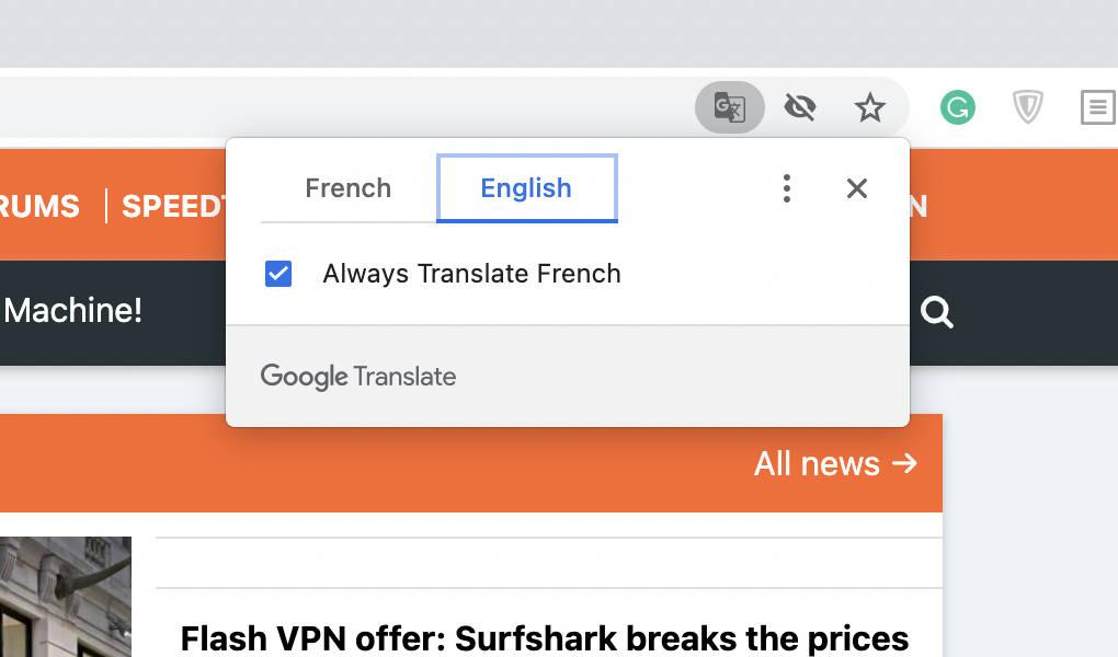 Chrome's translation prompt.