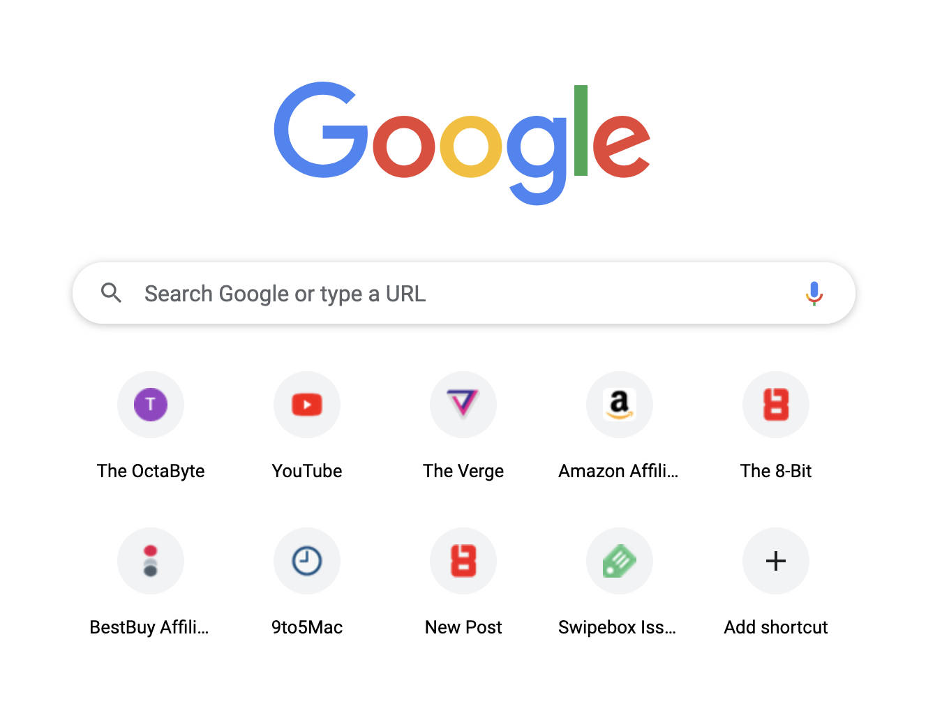 Chrome's Homepage elements including the colossal Google logo, the Omnibox, and frequently visited website thumbnails.