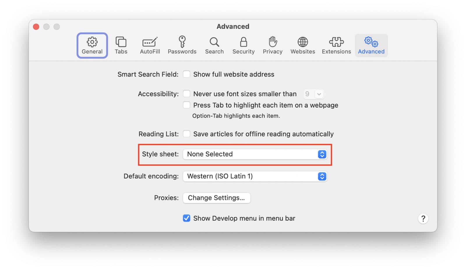 Safari's Add Style Sheet option in Preferences.