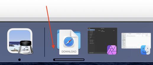 Safari downloads progress in the dock.