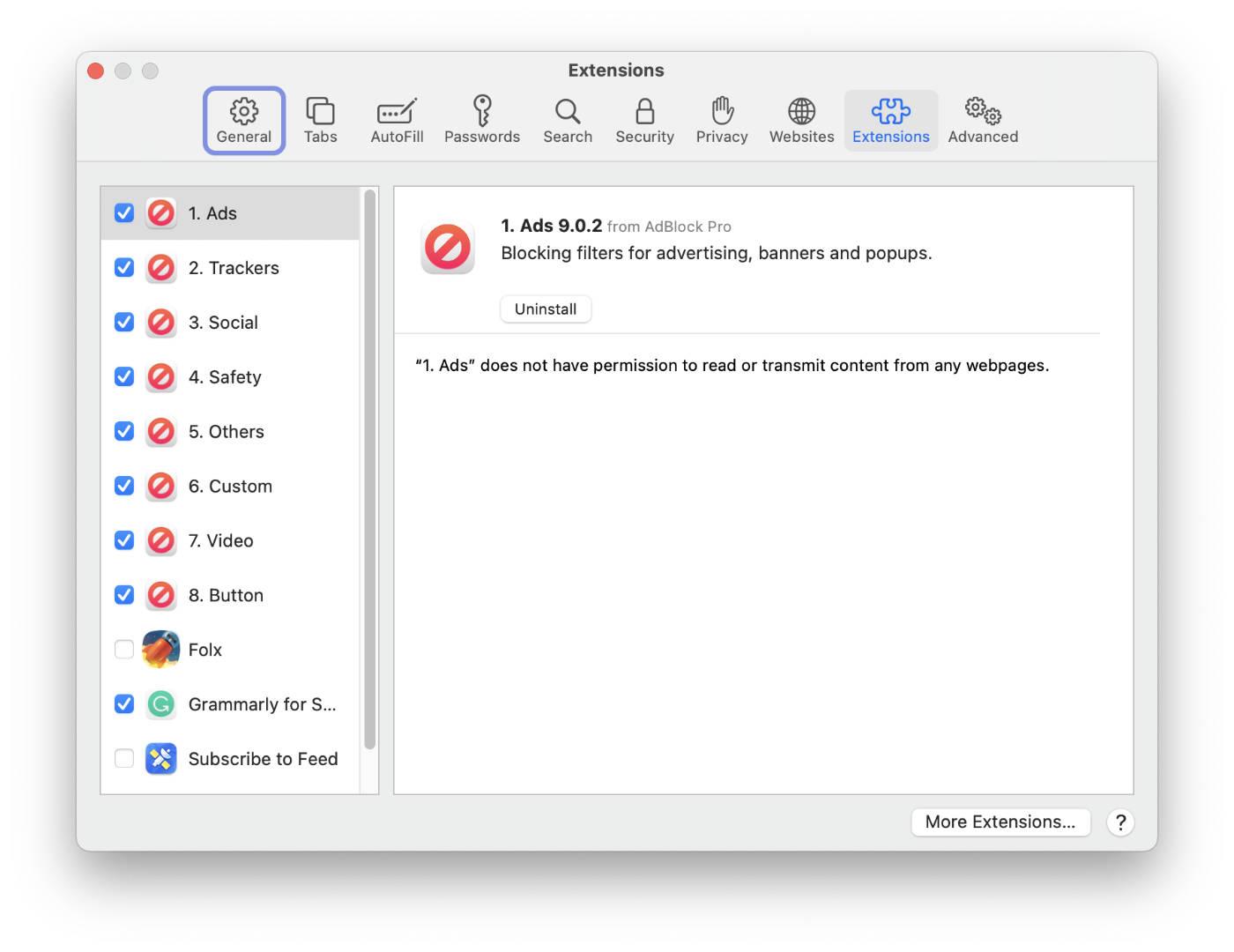 Extensions tab in Safari Preferences