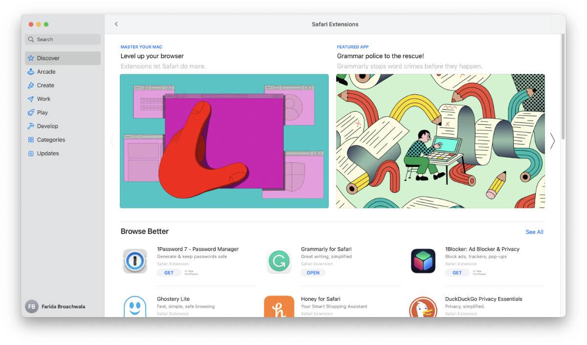 Safari extensions in Mac App Store.