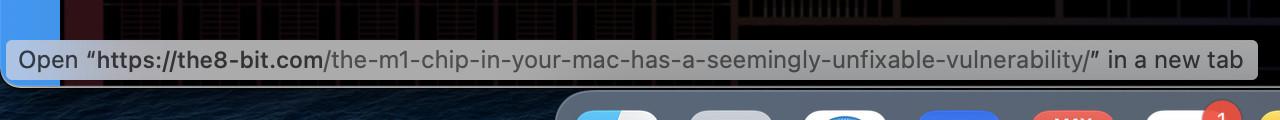 Safari's hyperlink indicator.