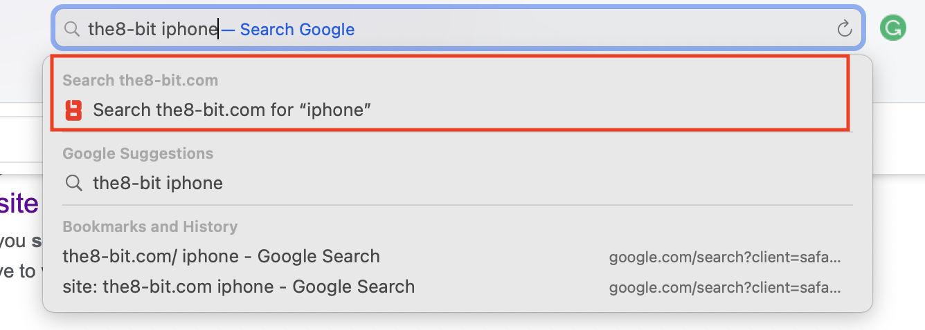 Quick Website Search in Safari.