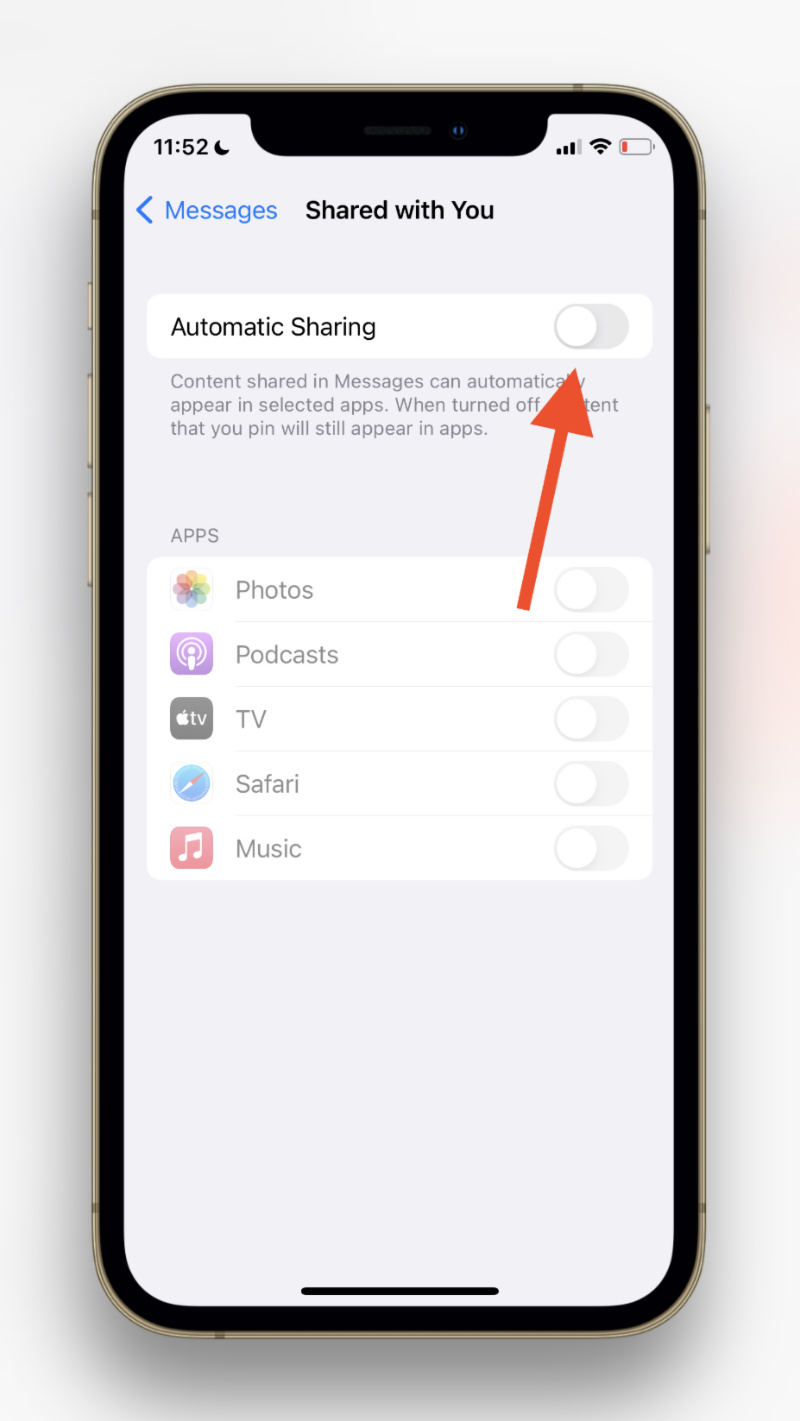 Turn Off Shared With You in iOS 15.