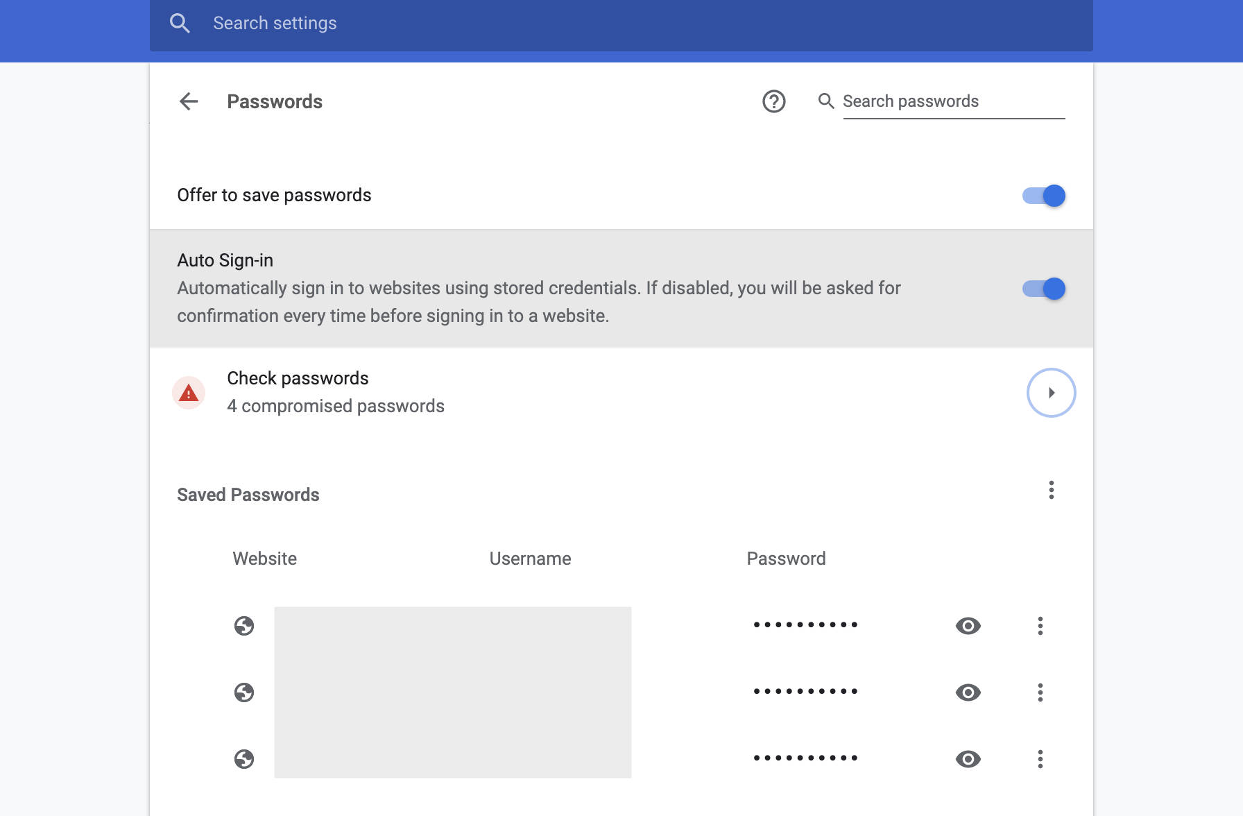 Chrome Compromised Passwords Warning