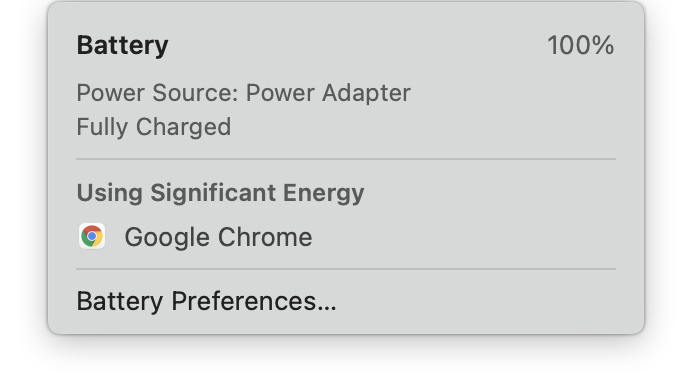 macOS excessive battery indicator suggesting Chrome is using significant energy.