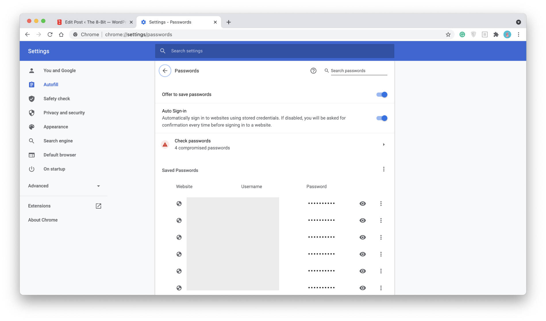 Chrome's password manager.