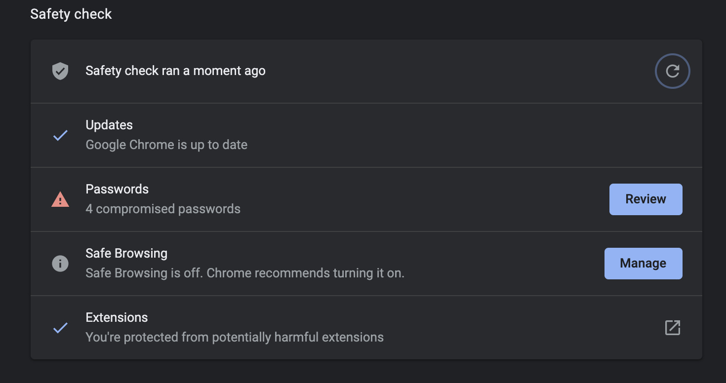Chrome's Safety Check feature.