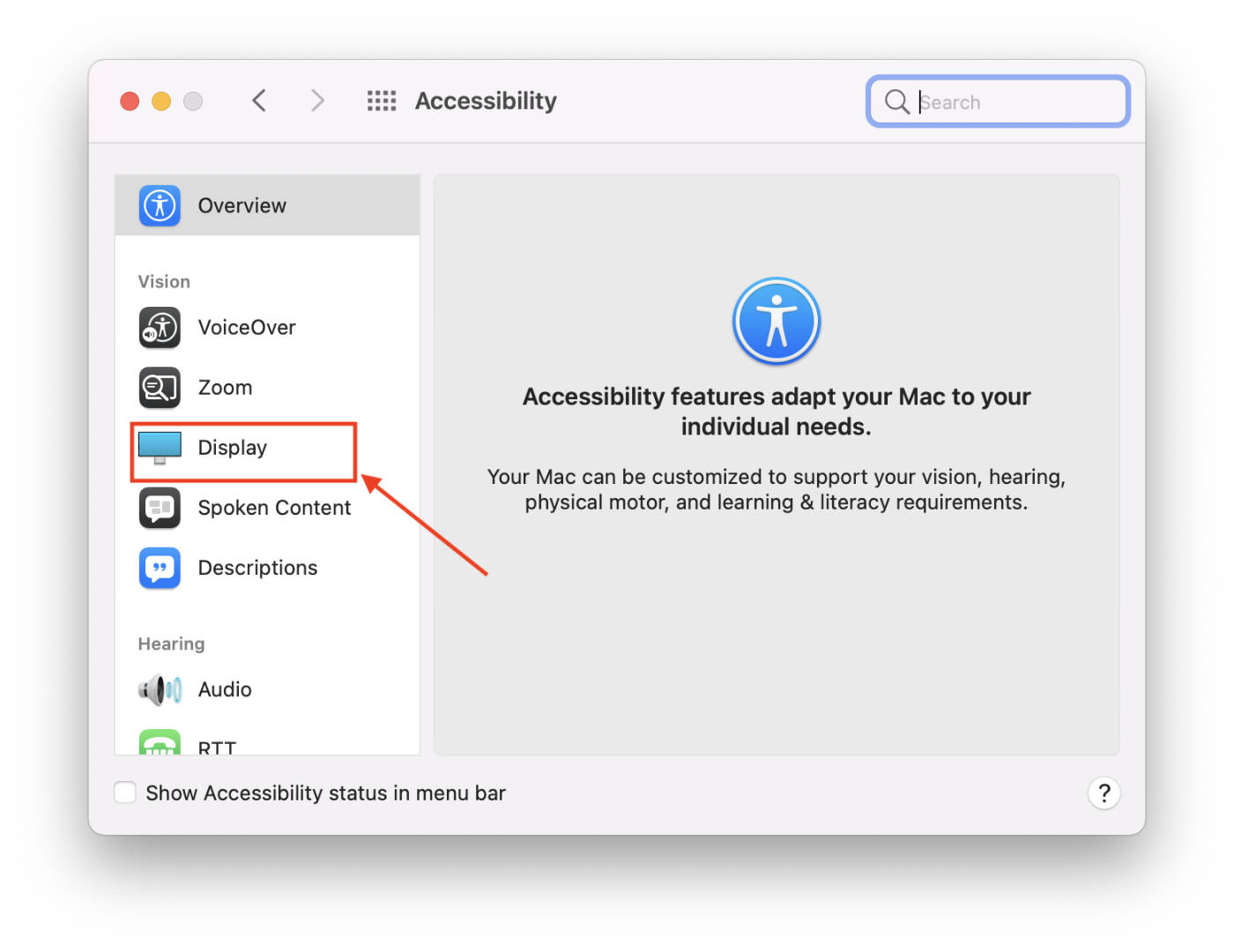 macOS DIsplay Accessibility Preferences