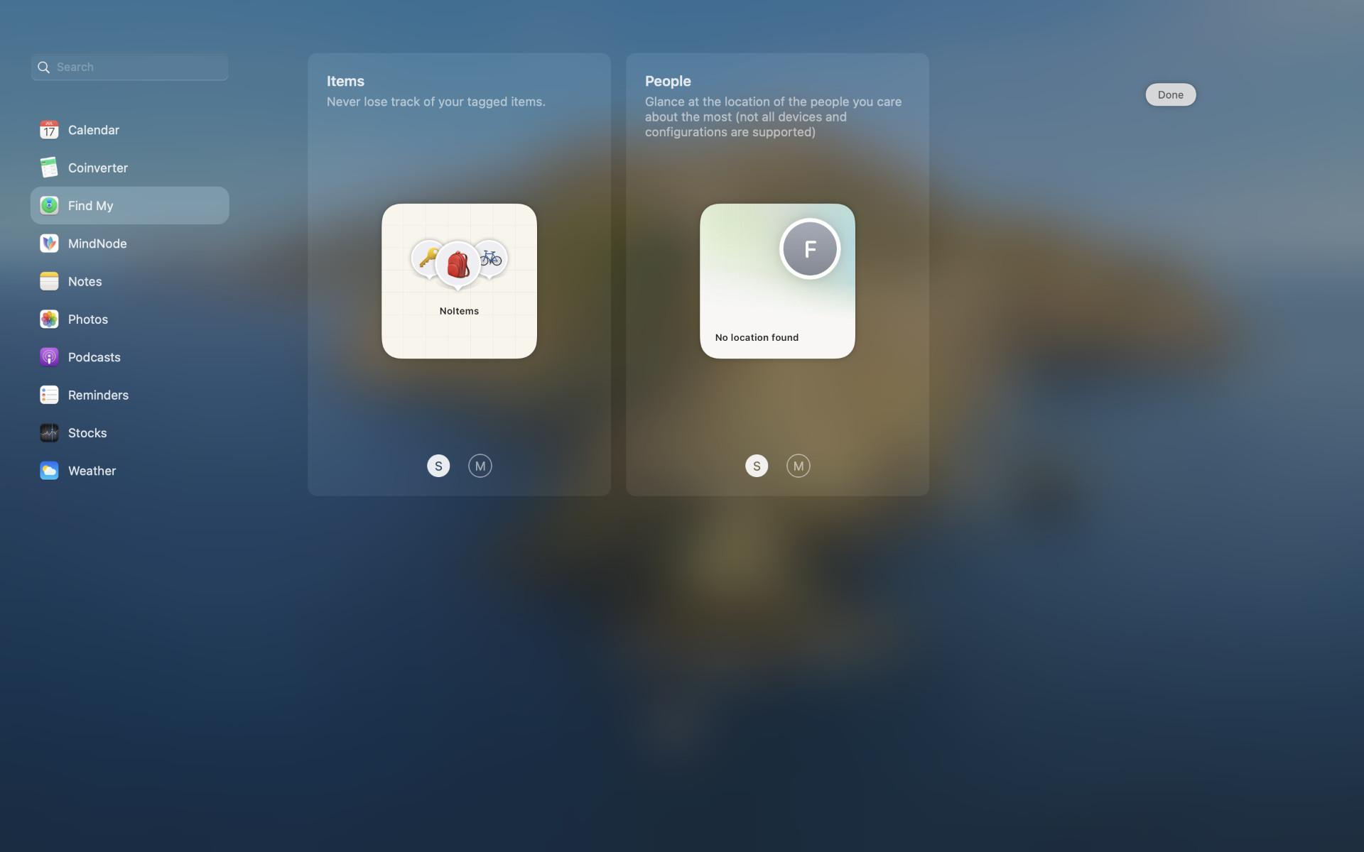 Find My Widgets in macOS 12 Monterey