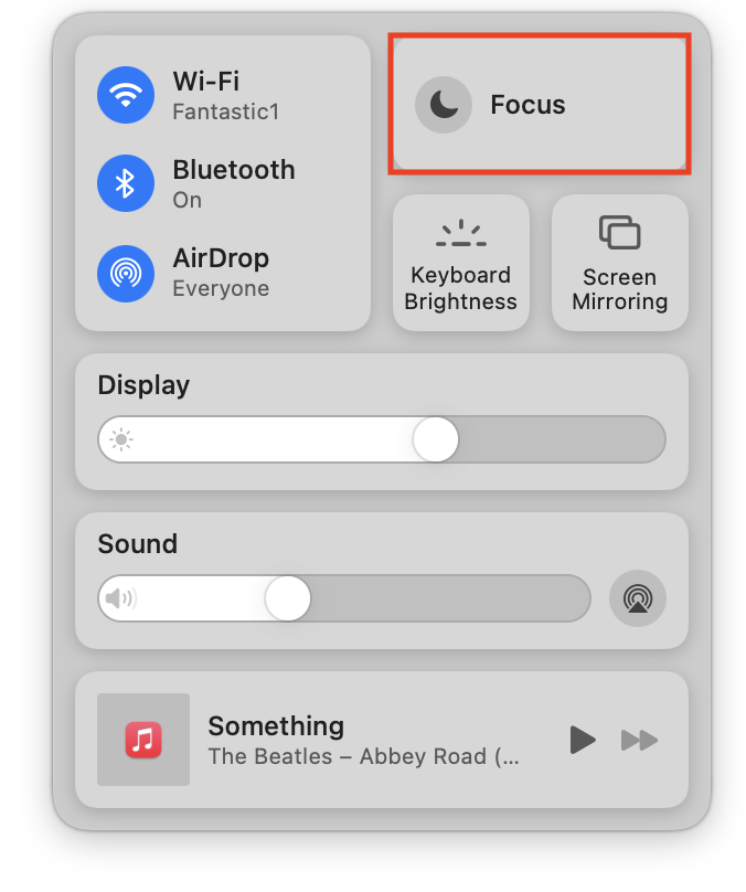 Focus palate in macOS Monterey's Control Center.