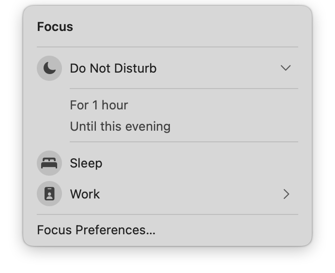 Focus mode filter options in Control Center.