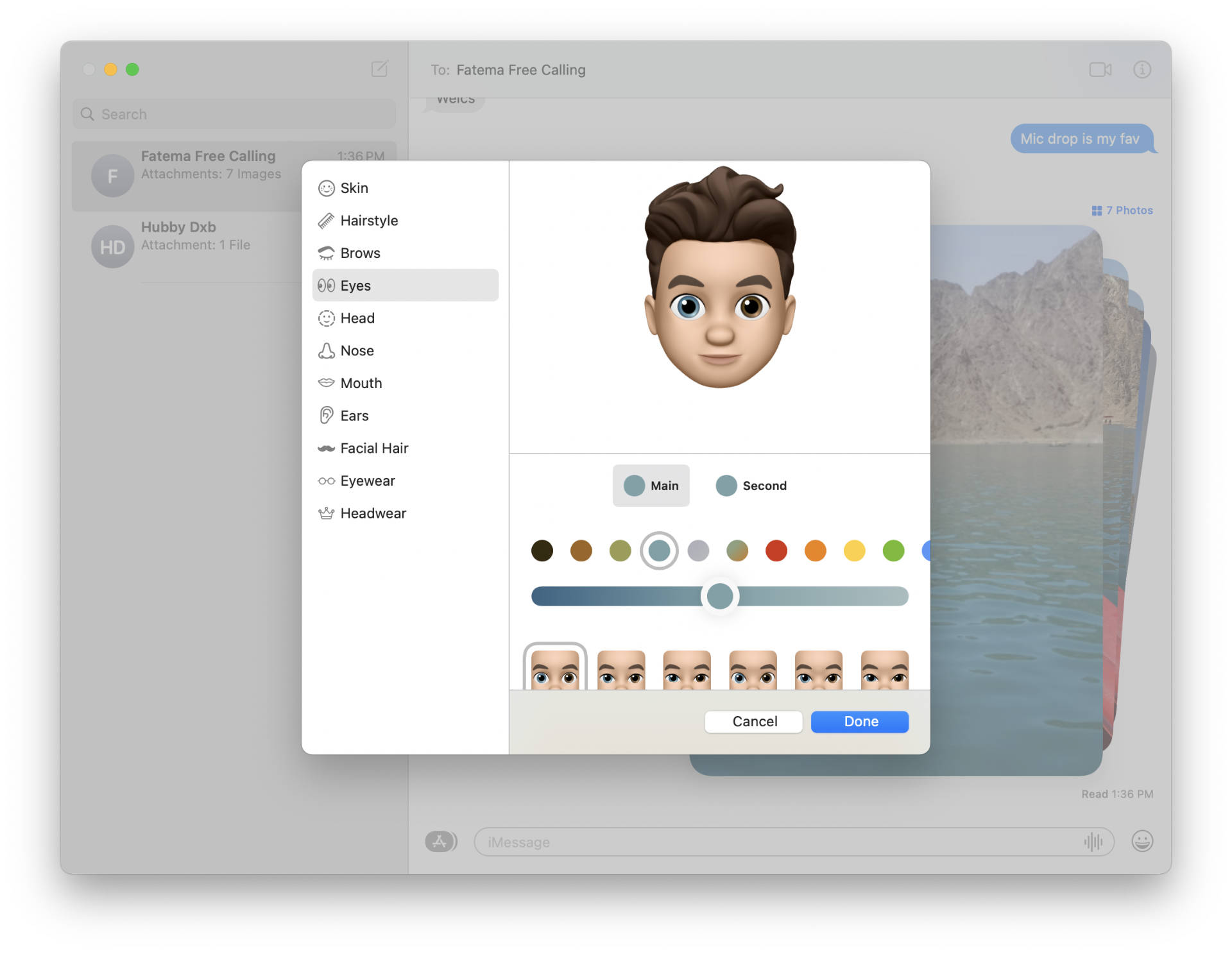 Memoji with two eye colors.