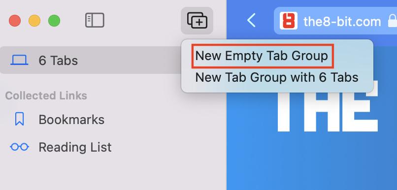 New Empty Tab Group in Safari.