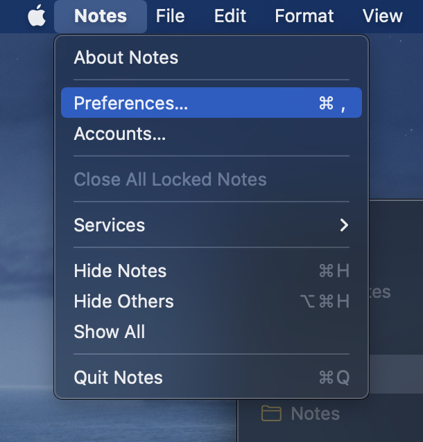 Notes App Preferences Menu