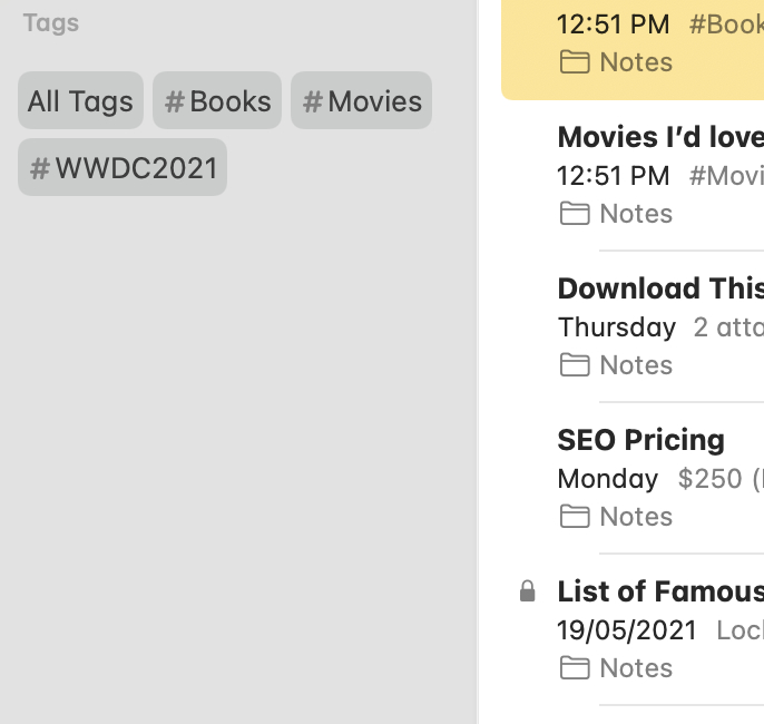 Tags in Notes apps.