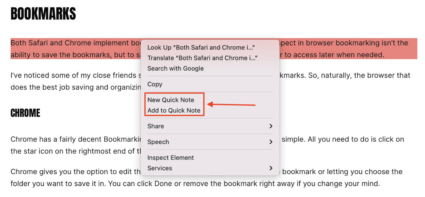 Quick Note highlighted link options.
