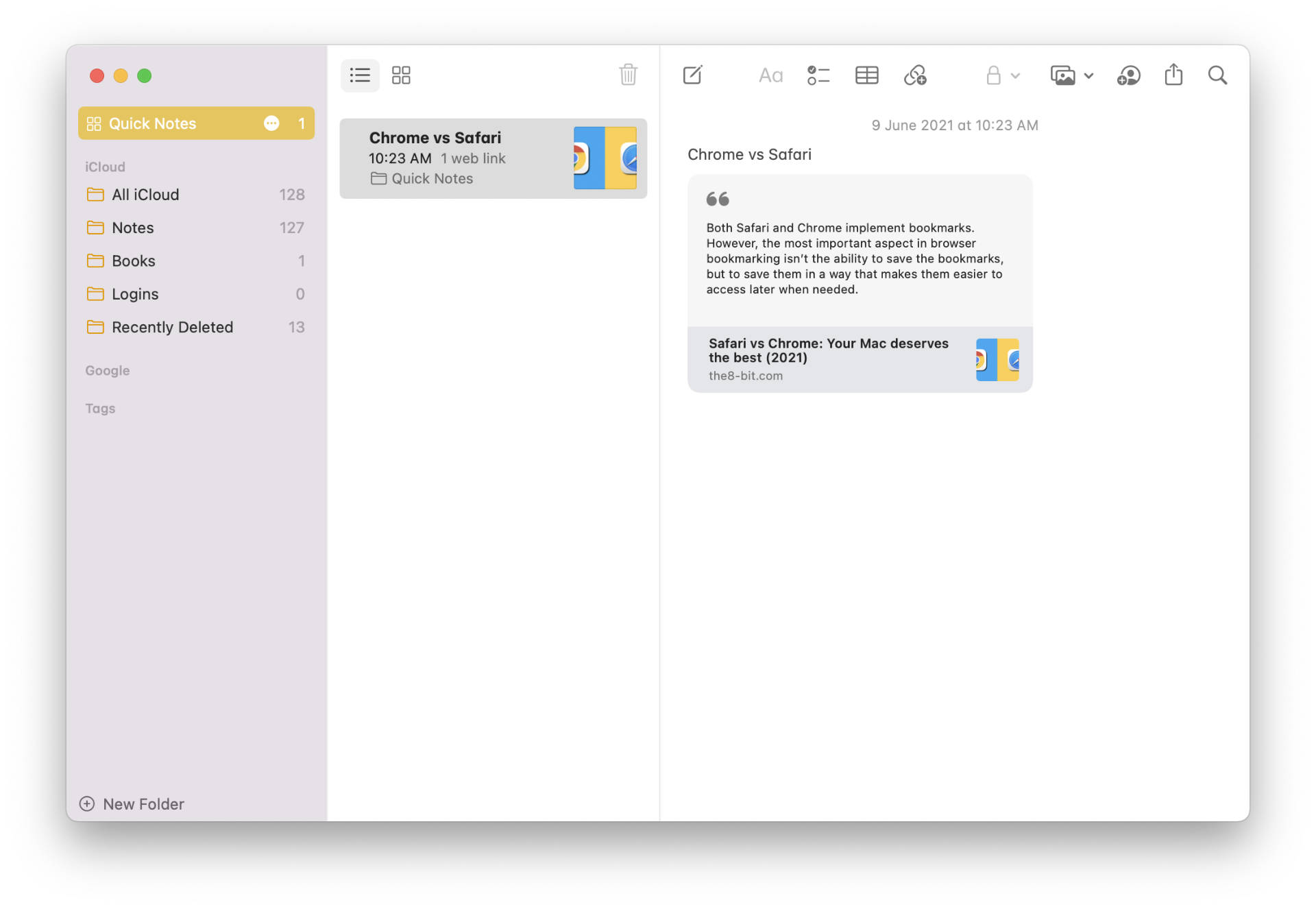 Accessing Quick Notes in the Notes app.