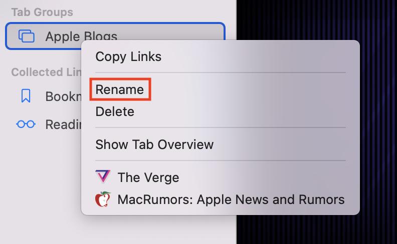 Rename Tab Group in Safari on macOS 12 Monterey.