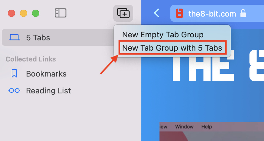 Creating a new tab group with 5 tabs from Safari's Sidebar using the Tab Group button in macOS 12 Monterey.
