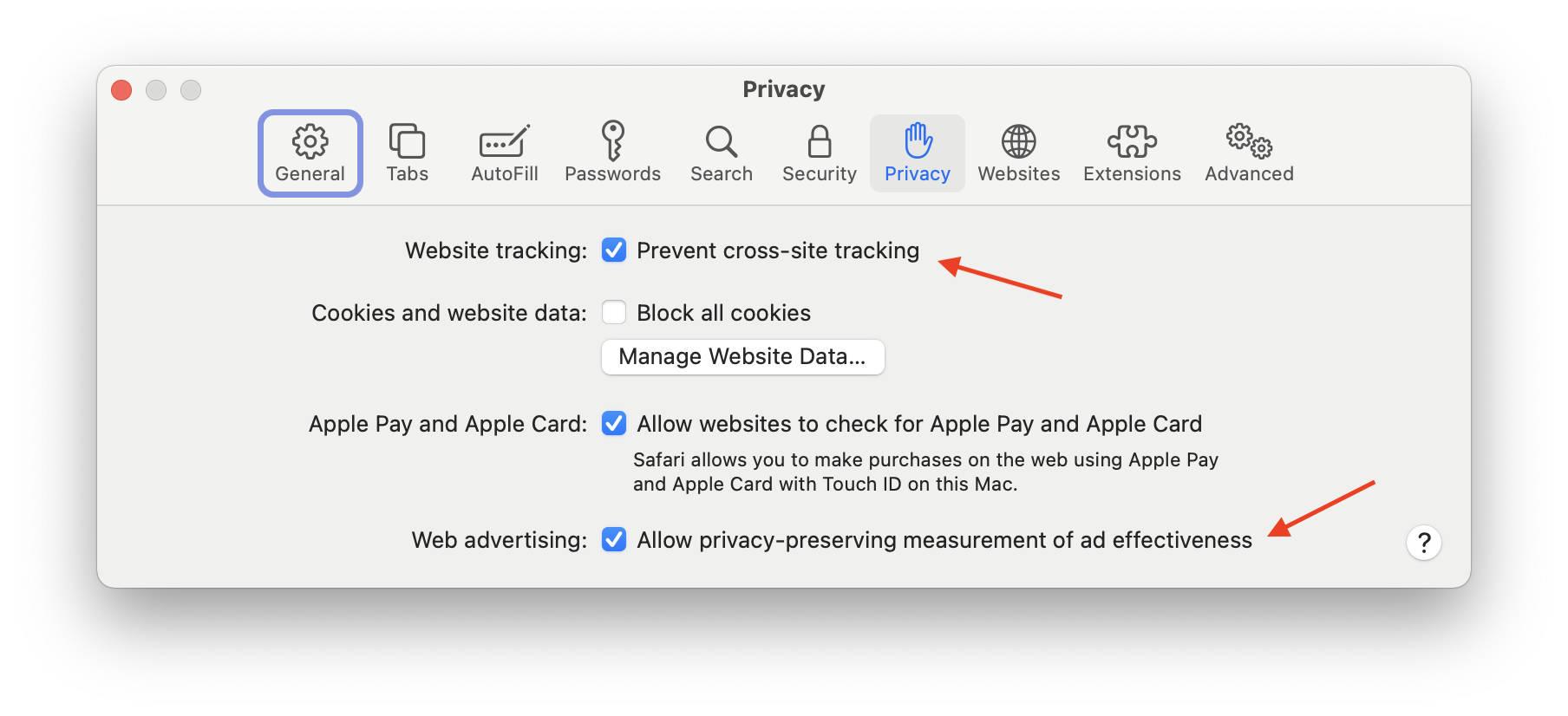 Safari's cross-site tracking prevention toggle.