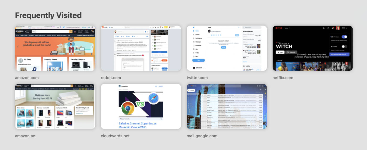 Safari's Frequently Visited section.
