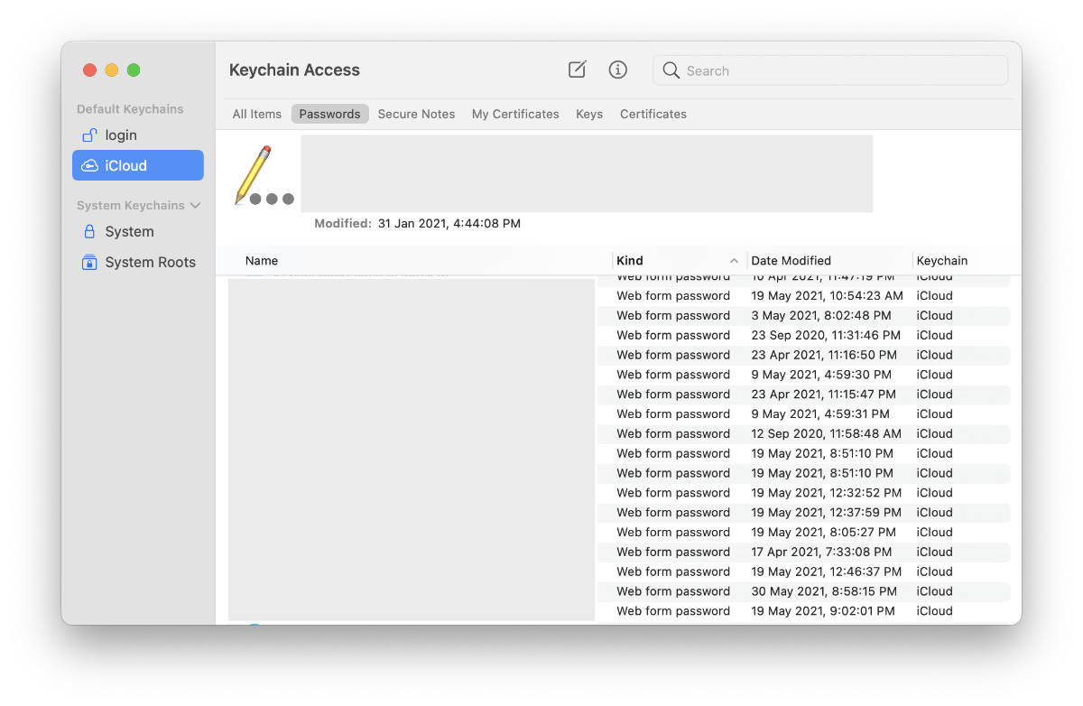 macOS Keychain Access app.