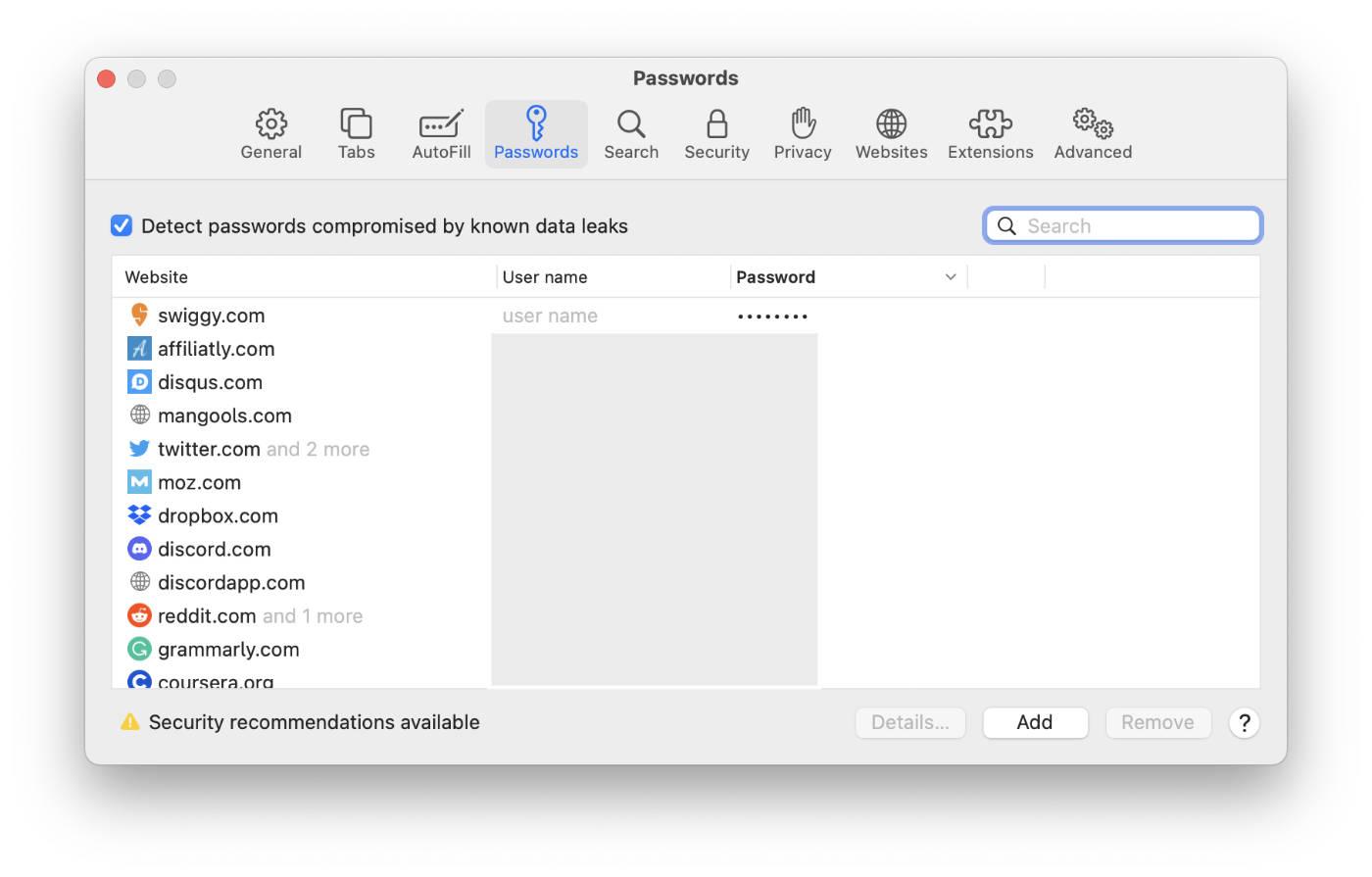 Safari's streamlined password manager.