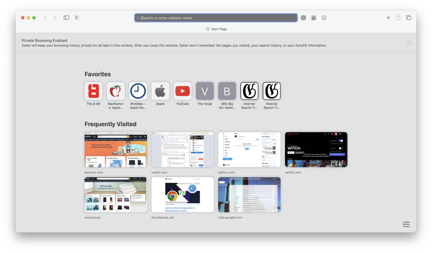 Safari's Private Browsing window