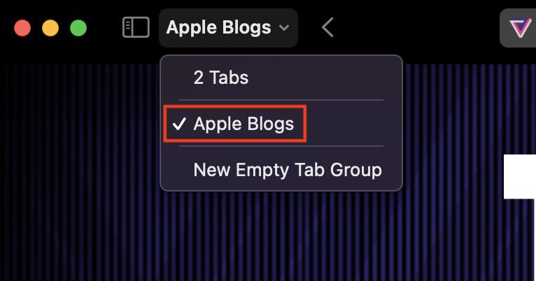 Switching Tab Groups in Safari