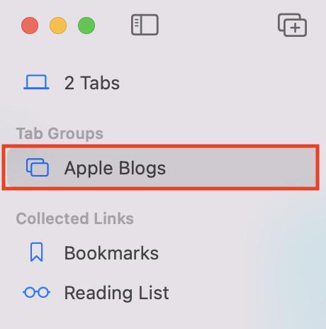 Switching Tab Groups in Safari through the Sidebar.