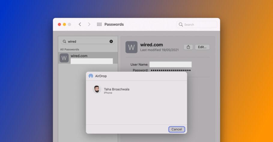 Passwords Sharing in macOS 12 Monterey