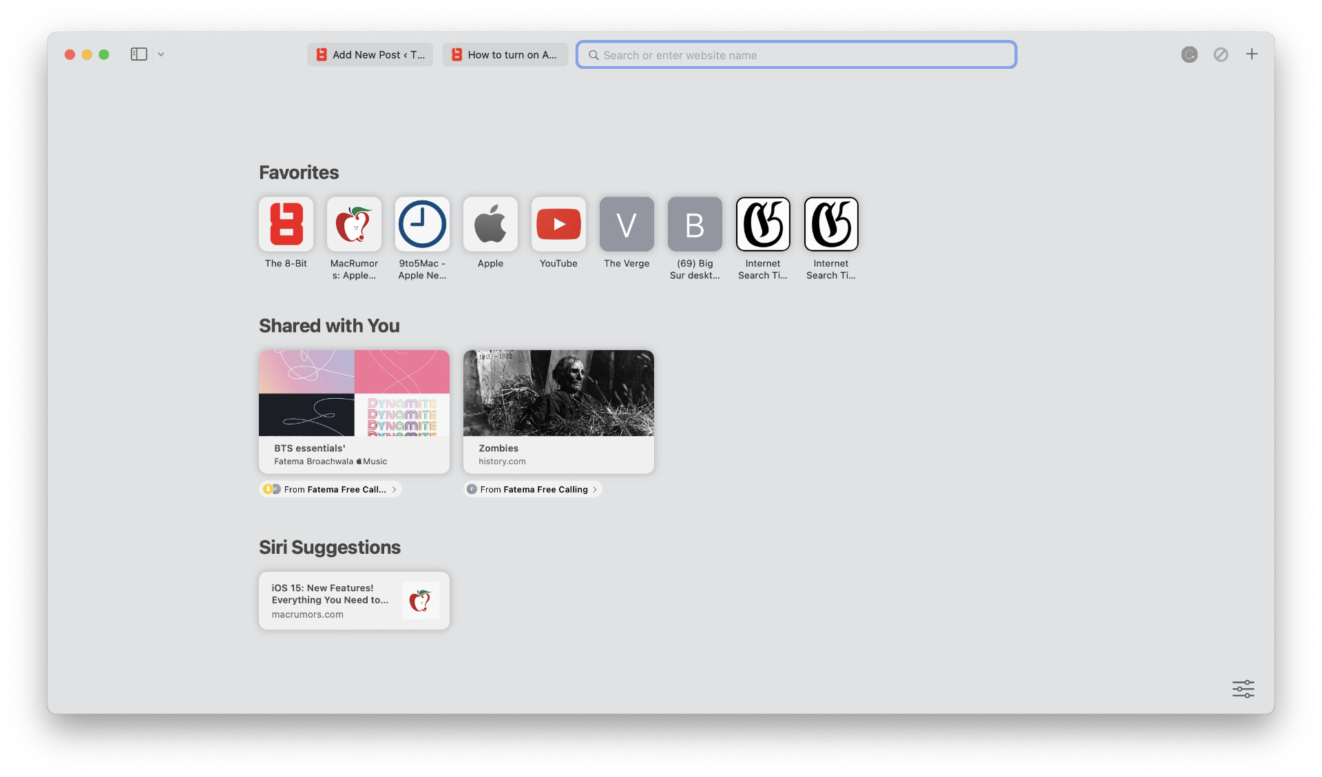Shared With You section in Safari on macOS Monterey.
