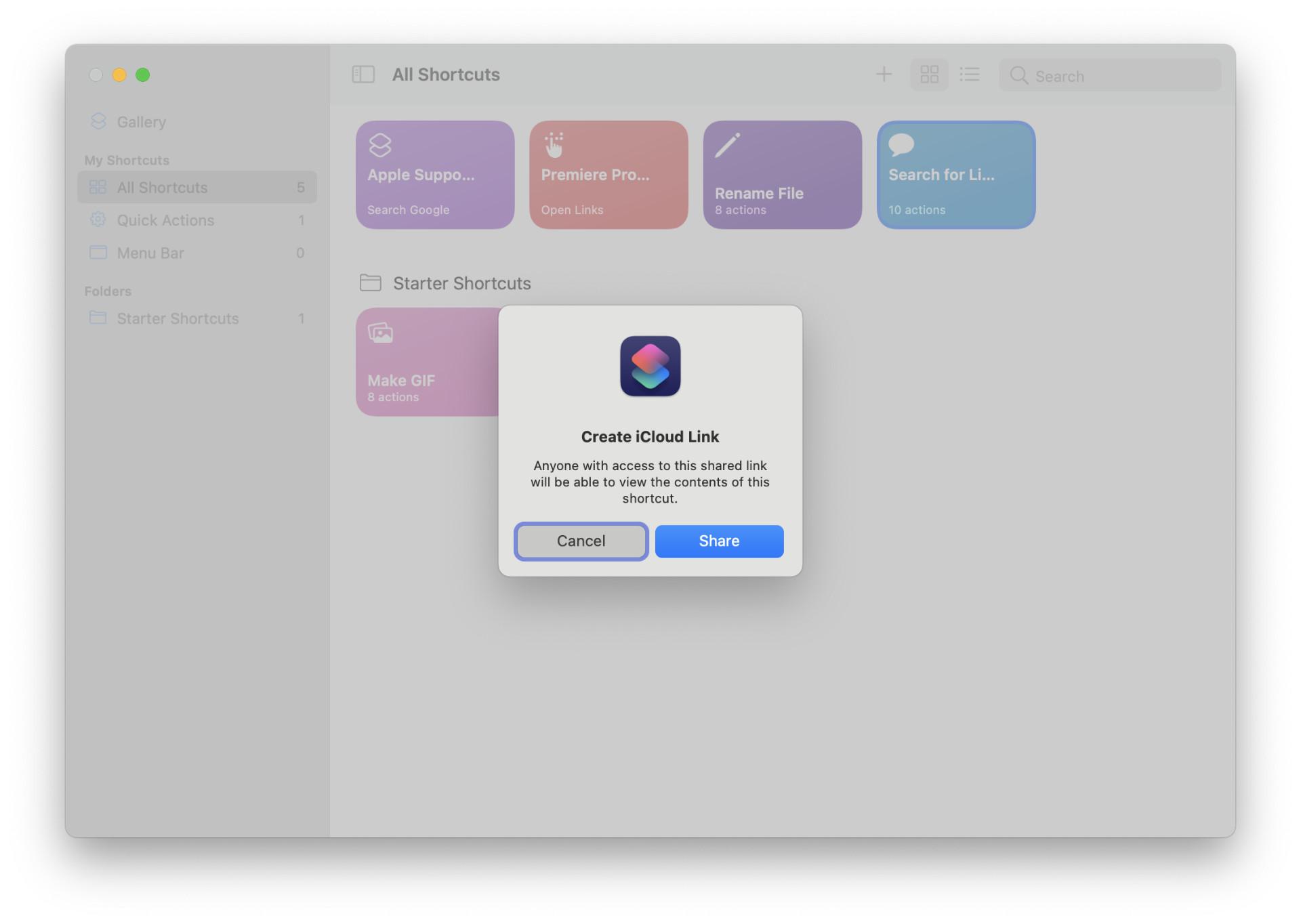 macOS Shortcuts Sharing