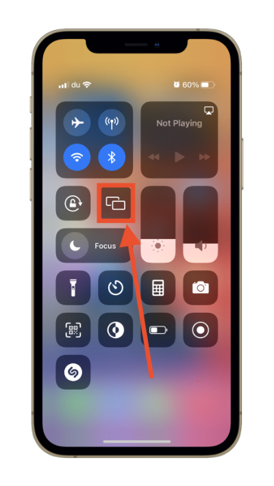 iOS 15 Screen Mirroring Button in the control center