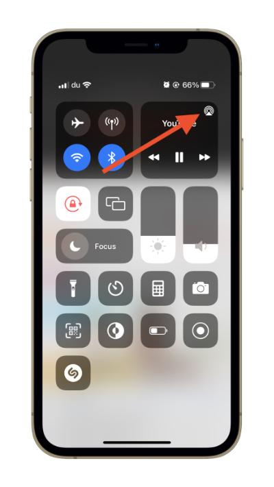 iOS 15 Control Center AirPlay Button