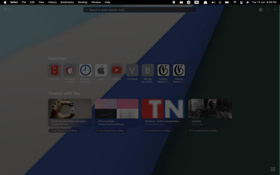 macOS 12 Monterey Full Screen Menu Bar