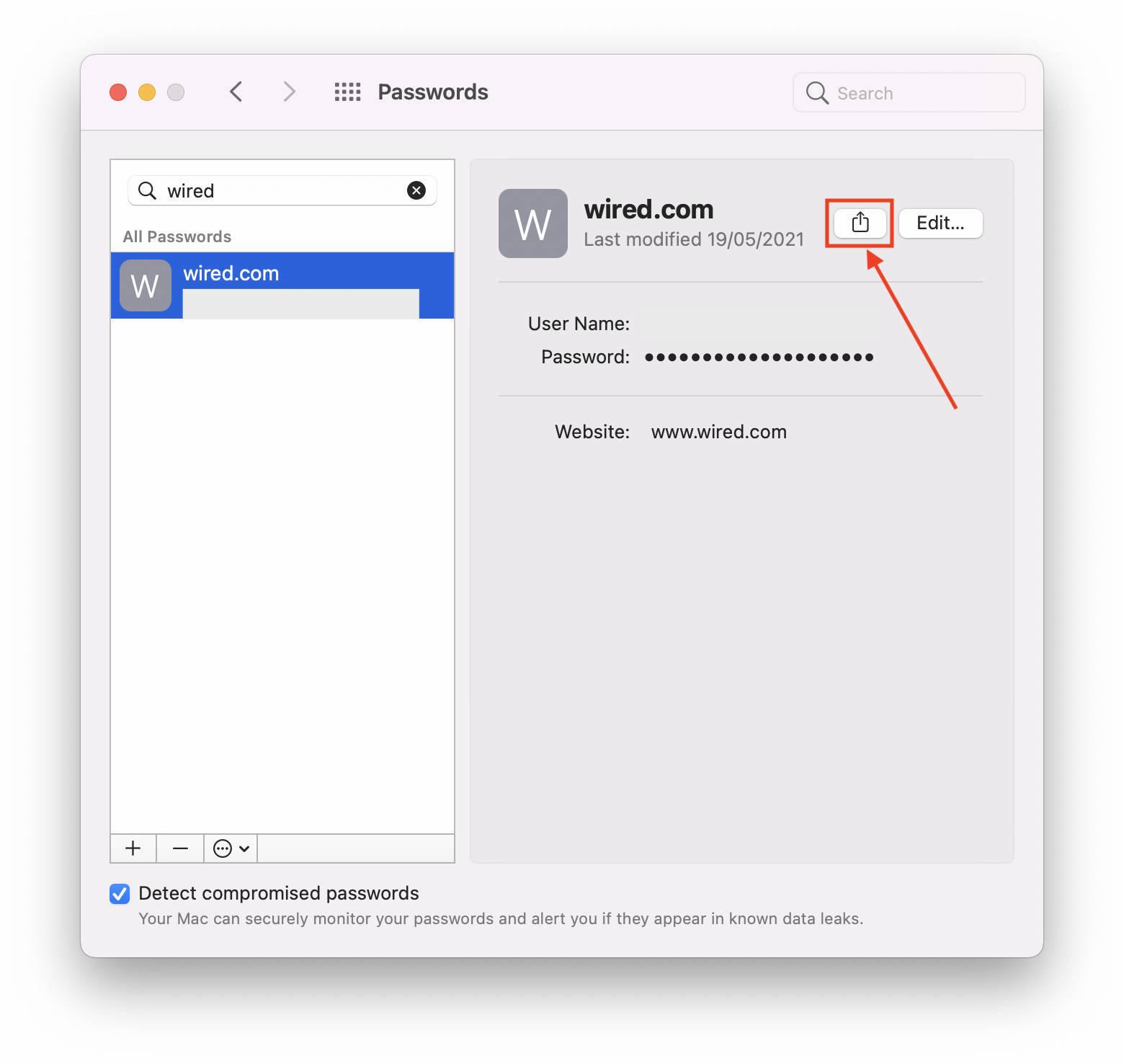 macOS 12 Monterey Passwords sharing button.