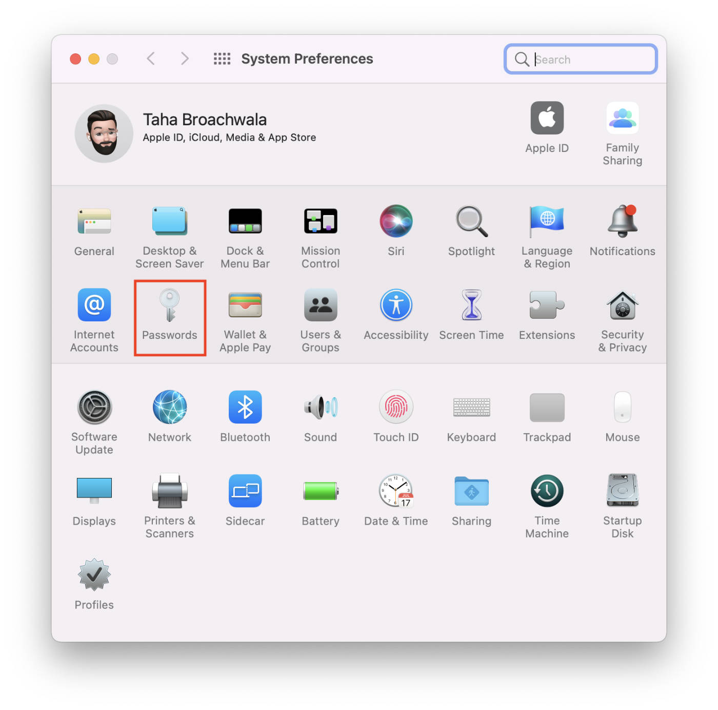 macOS 12 Monterey Passwords Section within System Preferences.