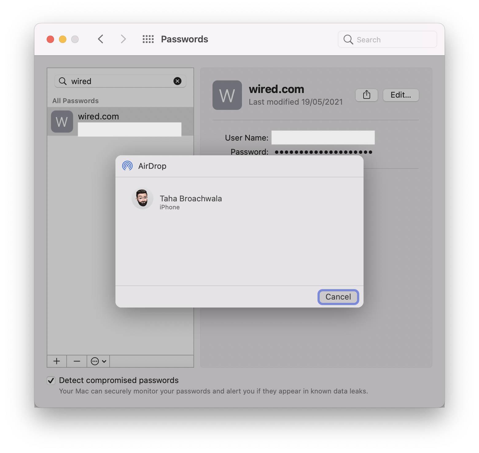 Sharing a password via AirDrop on Mac running macOS Monterey.