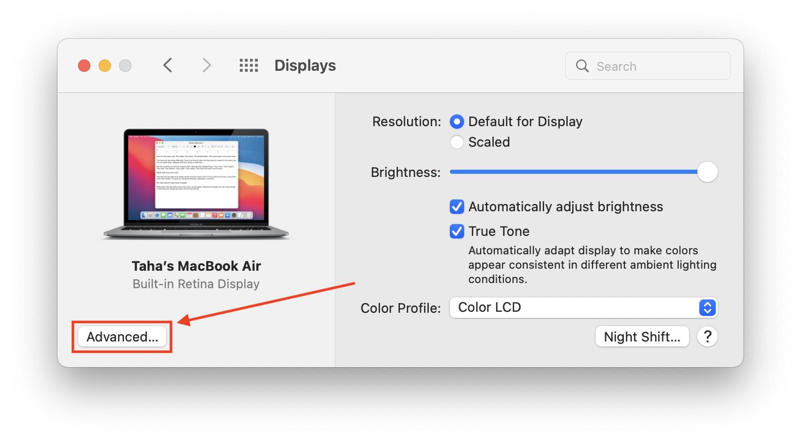 Advanced Display Preferences macOS Monterey