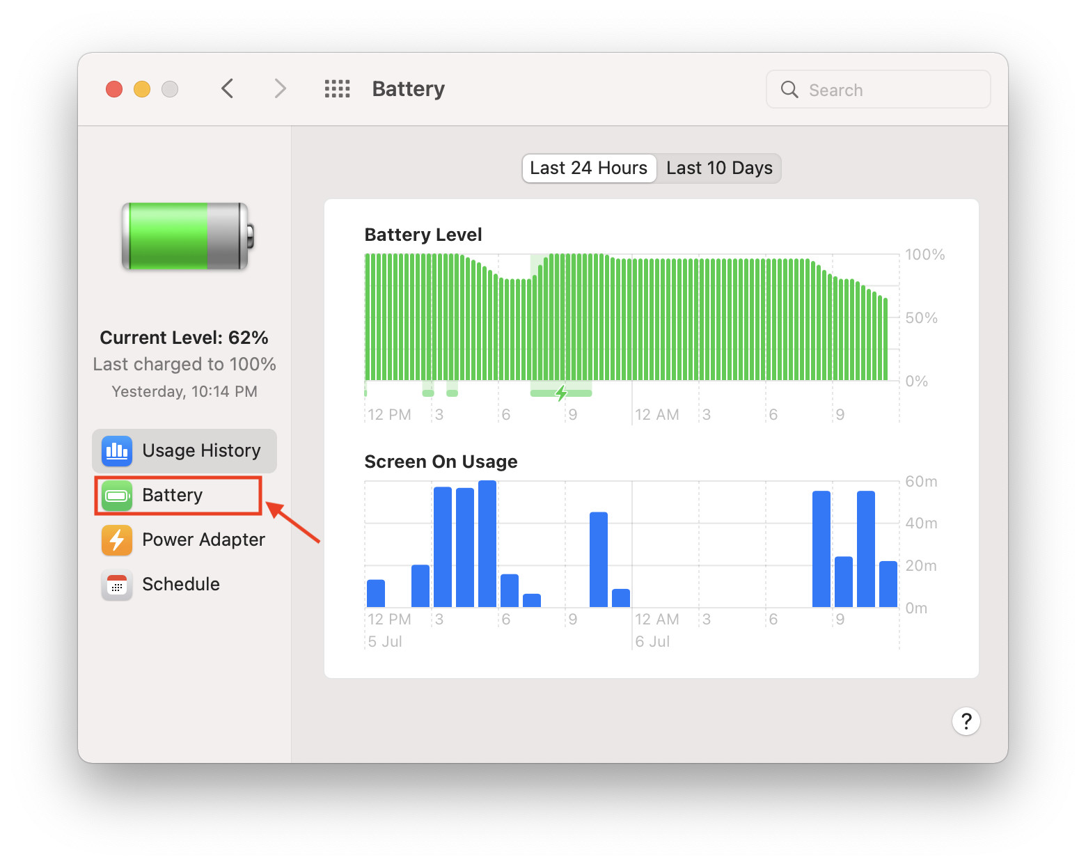Battery Tab in macOS Monterey Preferences.