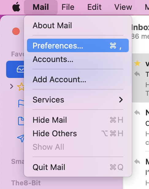 Mail Preferences in macOS Monterey