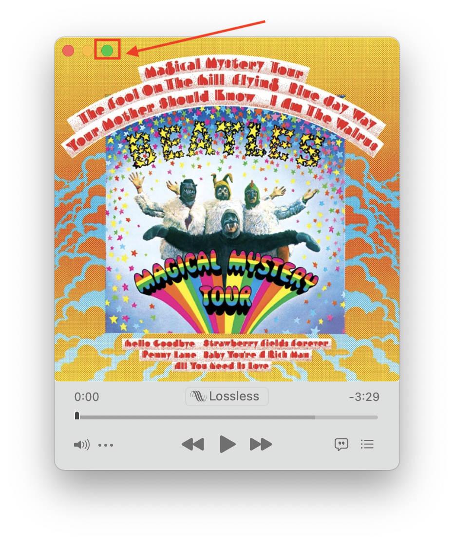 Apple Music Maximize Button