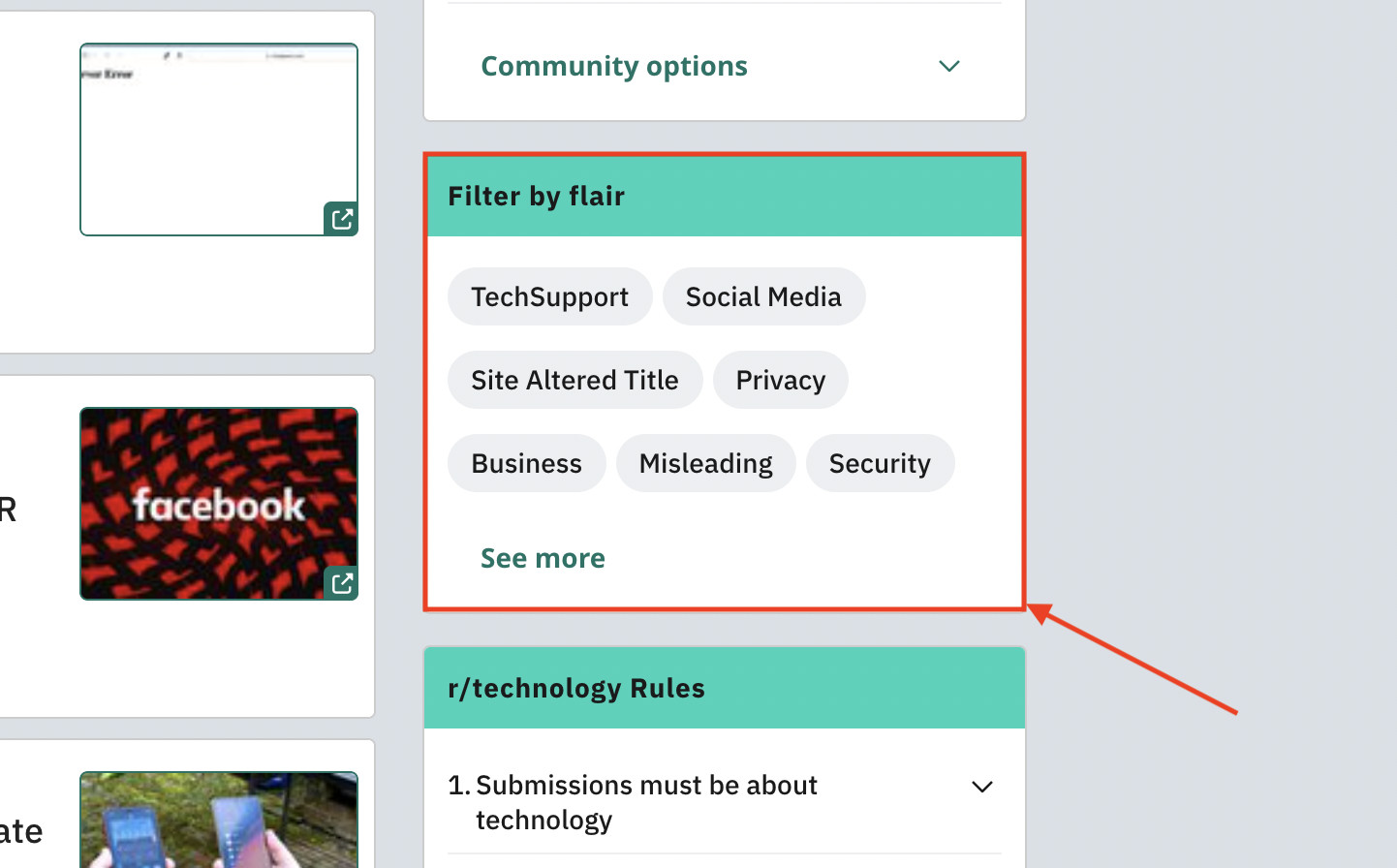 The ability to filter by flair on r/Technology