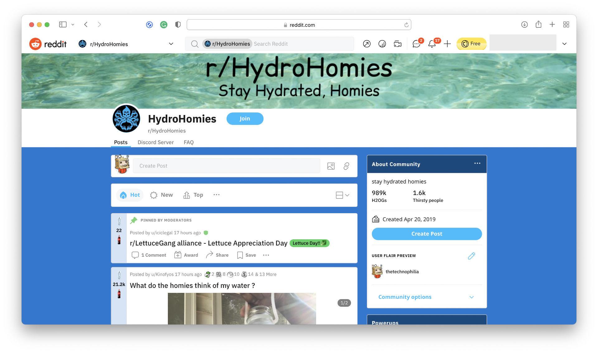 HydroHomies Subreddit