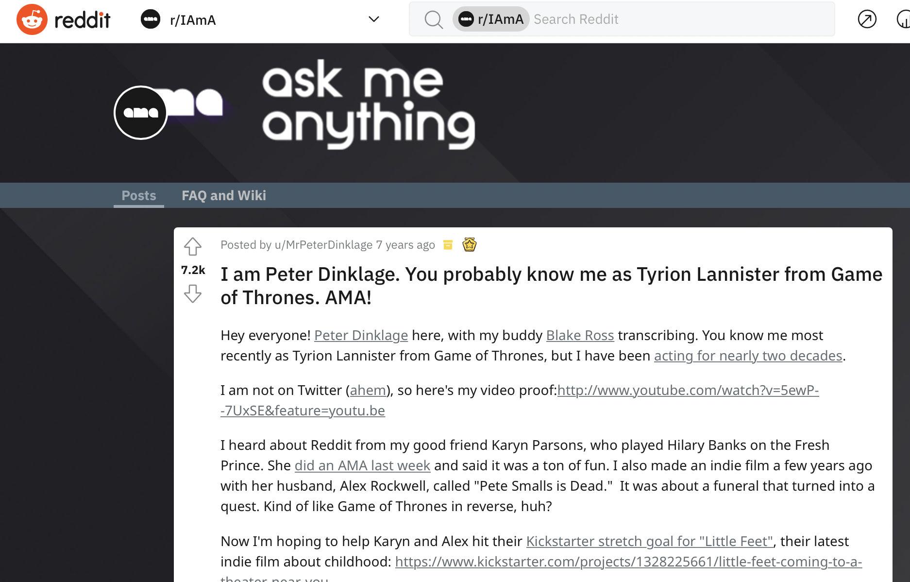 Peter Dinklage AMA on Reddit